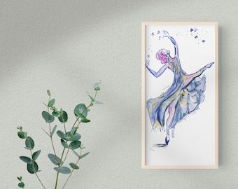 Bright Color Gouache Ballerina Figure Painting Original Home Decor