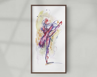 One of a Kind Abstract Dancer Figure Watercolor Painting, Original Fashion Illustration - B60