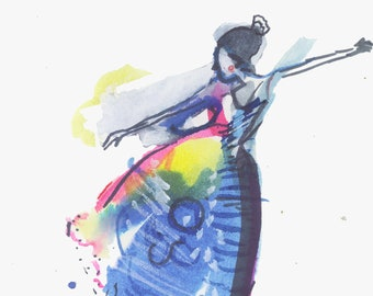 Whimsical Abstract Watercolor Painting featuring a Colorful Surreal Figure Illustration - 422