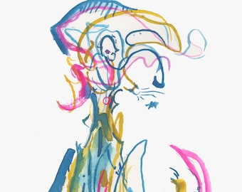 """Modern Bold Abstract Surreal Figure Painting Art, Small Original Gouache Watercolor 6"""" x 6"""" - 427"""