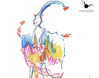 Beautiful Original Surreal Watercolor Fashion Illustration Abstract Figure Square Painting - 428