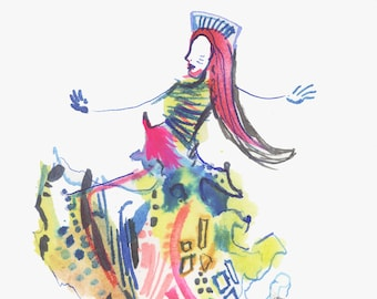 """Original Watercolor Abstract Painting depicting a Surreal Fashion Illustration 6"""" x 6"""" - 426"""