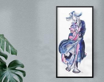 Original Abstract Surreal Watercolor Geisha Figure Painting - B57