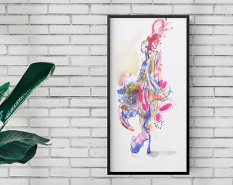 Original Abstract Surreal Watercolor Dancing Figure Painting, Bright Colorful Fashion Illustration - B56
