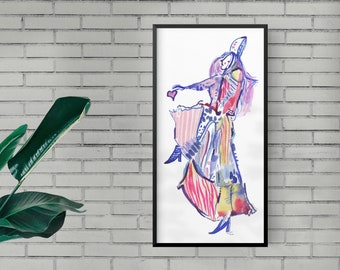 One of a Kind Abstract Dancer Figure Watercolor Painting, Original Fashion Illustration - B58
