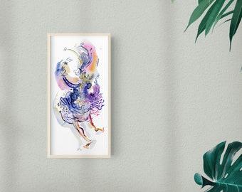 Bright Color Gouache Figure Painting Original Home Decor