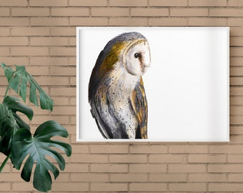 Barn Owl Postcard Art Print, Bird Illustration, Digital Drawing, Animal Wildlife Illustration  OWL1