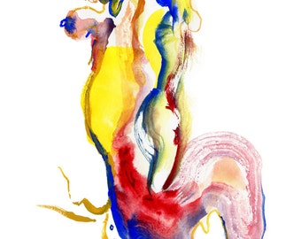 original abstract fashion watercolor figure painting art etsy