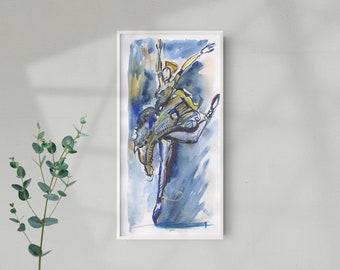 Original Abstract Bold Watercolor Dancing Ballerina Painting, Blue Dancer Illustration - B30