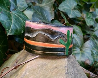 Womens Leather Cuff Bracelet, Leather Wristband, Leather Bracelet for Women, Free Shipping, Bookmarks, Tooled Leather, Rogue Gothique