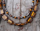 Autumn Fire - Necklace of Gold Foil Lamp Work Beads, Copper, Swarovski Crystal, Yellow Jasper, Vintage Jet, Czech Glass Beads x