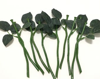 Silk flower stems etsy 10 short artificial flower stems with rose leaves for diy wedding bouquets flower arrangements silk flowers artificial flowers millinery mightylinksfo