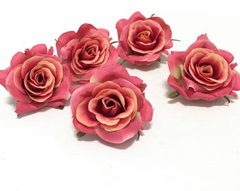 Corsage Artificial Flowers Tutu Wedding Flower Crown Hair Accessories Millinery Wreath 5 CORAL Orange Artificial Roses- Silk Flowers