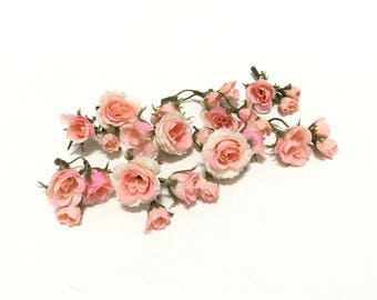 Mini roses flowers etsy 27 tiny peachy pink blush mini artificial roses silk flowers artificial flowers flower crown millinery wedding corsage boutonnire mightylinksfo