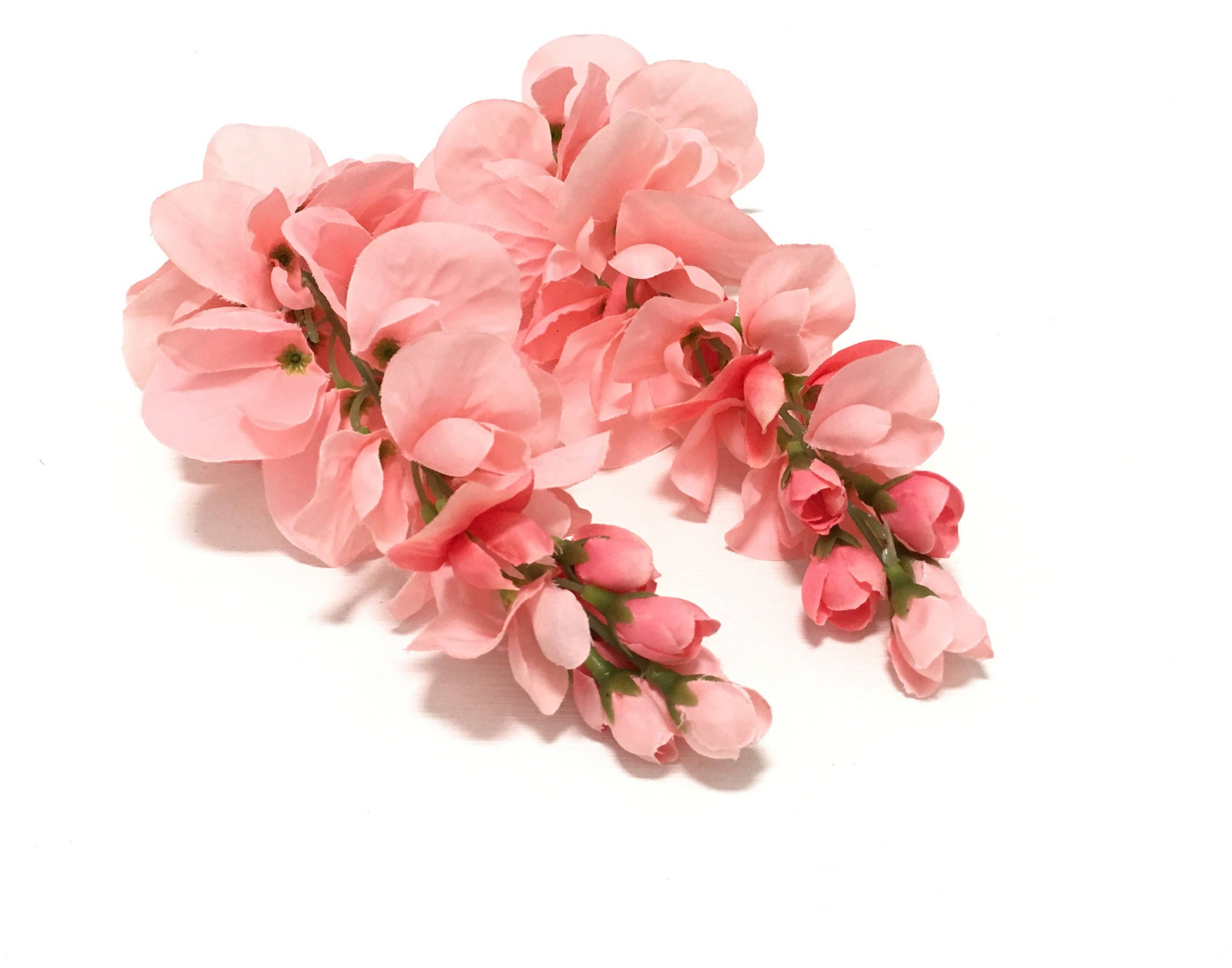 2 CORAL PINK Wisteria Clusters - OOAK Artificial Flowers, Silk ...