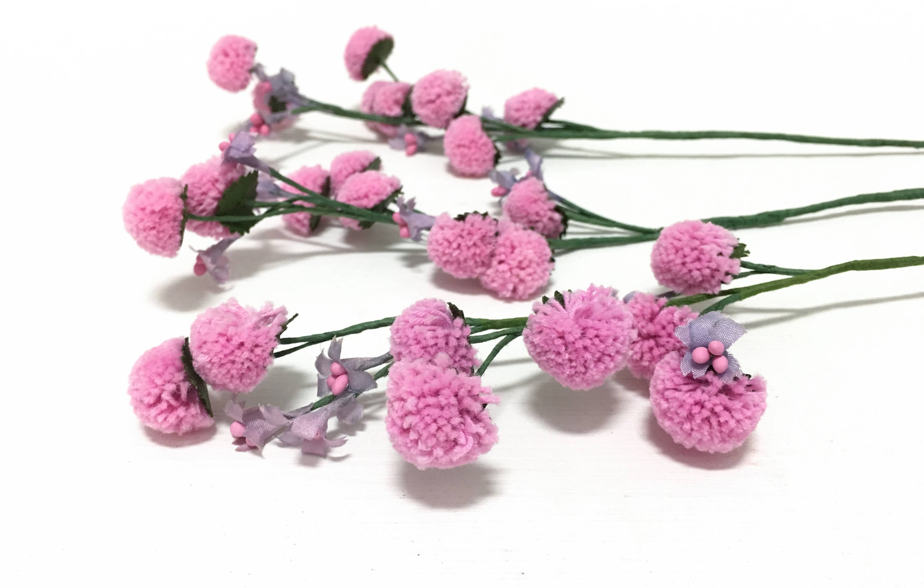Artificial Flower Spray 3 Pink Pom Pom Chrysanthemum Flower Etsy