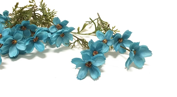 24 artificial turquoise baby cosmos artificial flowers silk etsy image 0 mightylinksfo