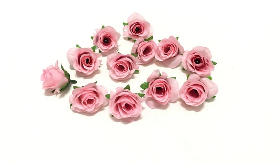 12 Miniature Artificial Pastel Pink Roses Artificial Flowers Etsy