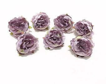 7 LAVENDER Artificial Mini Peonies- Artificial Flowers, Silk Flowers, Wedding, Hair Accessories, Flower Crown, Millinery, Corsage, Wedding