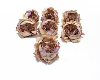 7 BEIGE Artificial Mini Peonies- Artificial Flowers, Silk Flowers, Wedding, Hair Accessories, Flower Crown, Millinery, Corsage, Boutonniere