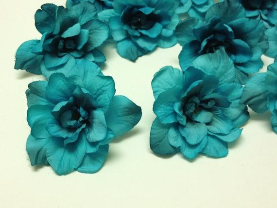 Silk flowers 10 delphinium blossoms in turquoise aqua blue etsy image 0 mightylinksfo