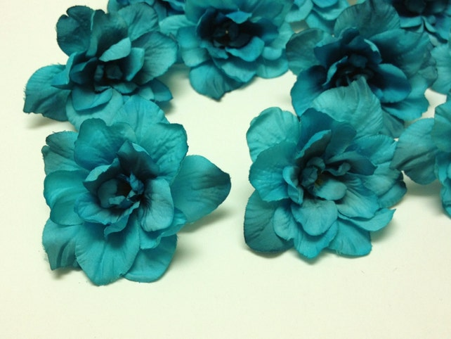 Silk flowers 10 delphinium blossoms in turquoise aqua blue etsy image 0 mightylinksfo