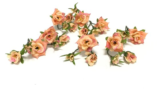 24 coral pink artificial mini roses silk flowers hair etsy image 0 mightylinksfo