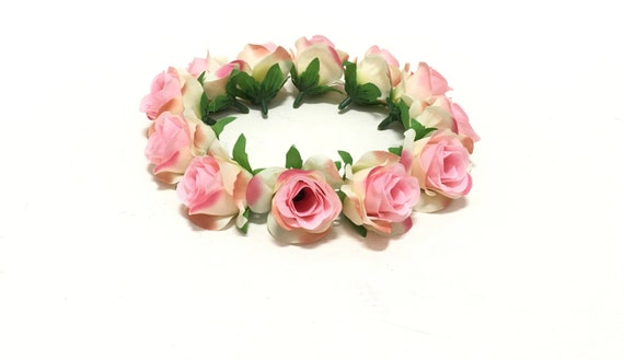 12 Miniature Artificial Cream Pink Roses Artificial Flowers Etsy