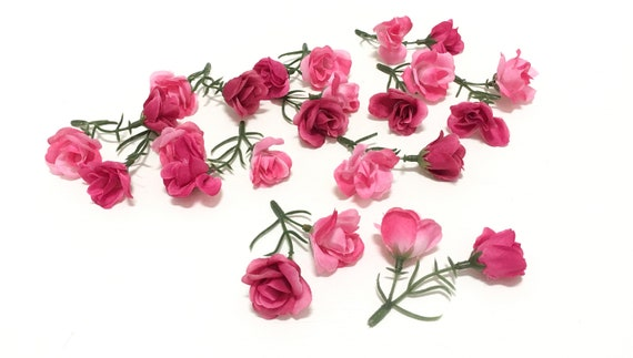 1 set 24 budget quality pink mini roses artificial flowers etsy image 0 mightylinksfo