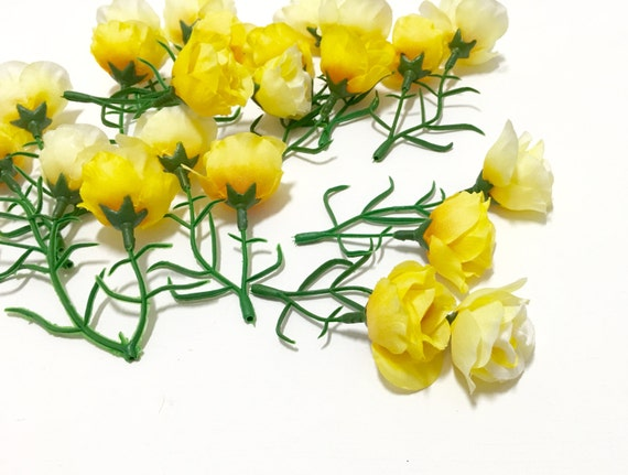 Silk Flowers 24 Small Sweetheart Roses In Shades Of Yellow Etsy