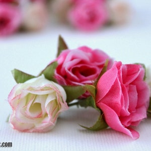 Silk Flowers Millinery Flower Crown 34 Tiny Pastel Pink and Red Sweetheart Roses Wedding MINIATURE Artificial Flowers