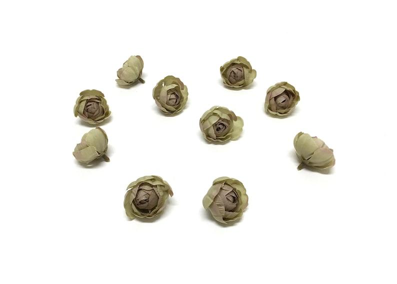 Flower Crown Millinery Hair Accessories Wedding Hat 10 Sage Green Artificial Ranunculus Buds-Artificial Flowers Circlet Silk Flowers