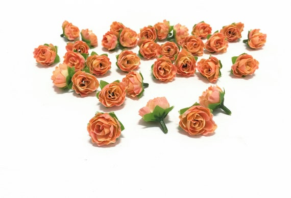 30 artificial miniature coral orange mini roses artificial etsy image 0 mightylinksfo