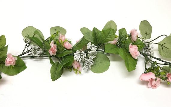 Silk Flowers Millinery Hair Accessories DIY Wedding 6 Ft Mini Pink Artificial Ranunculus Flower GARLAND- Wedding Arbor Flower Crown