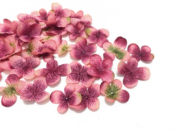 40 Mauve Artificial Hydrangea Blossoms Artificial Flower Petals
