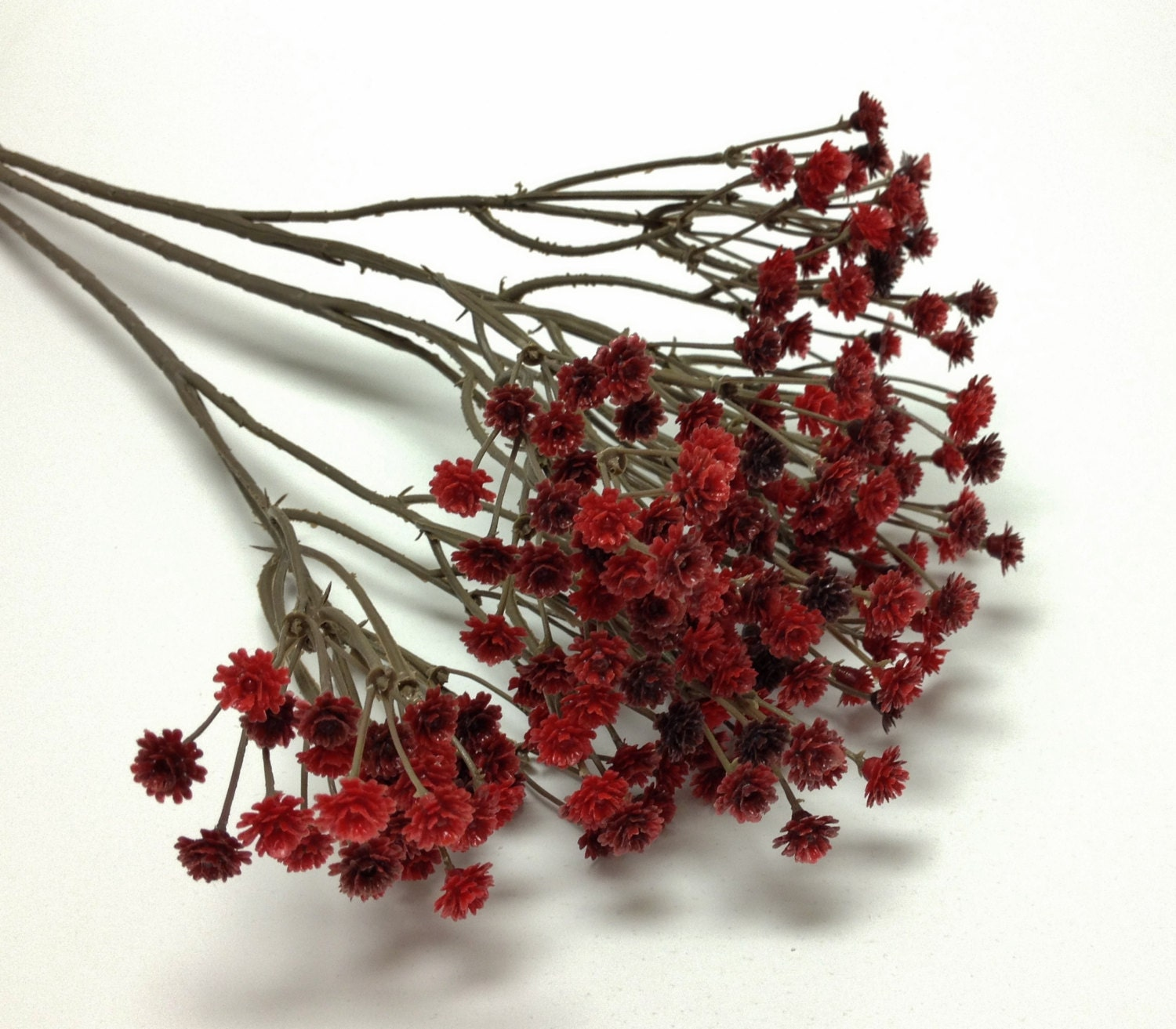 Burgundy Red Plastic Babys Breath Gypsophila Etsy