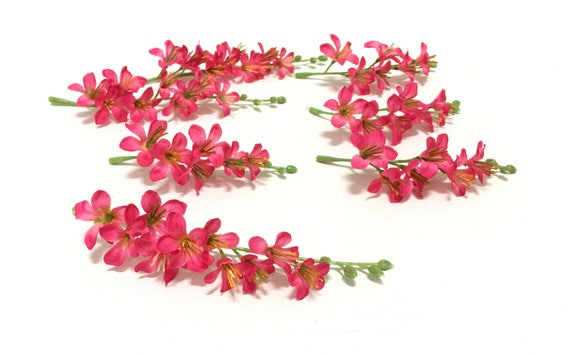 Hot pink artificial vinca flower clusters flower crowns etsy image 0 mightylinksfo