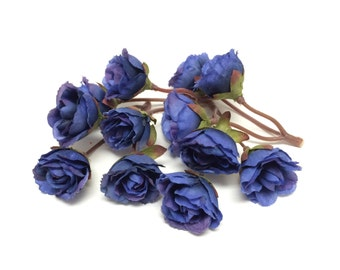 Artificial Flowers - 12 Dry Look ROYAL BLUE Mini Roses - SMALL Flowers, Flower Crown, Halo