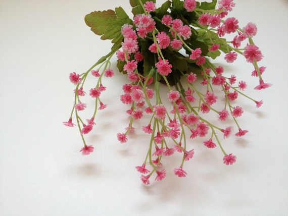 Pink plastic babys breath bush gypsophila artificial etsy image 0 mightylinksfo