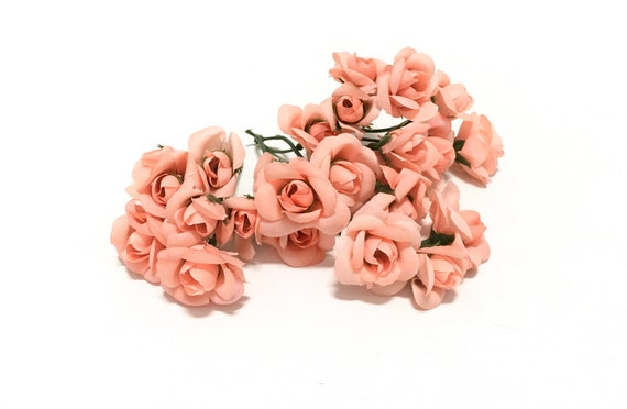 24 peach artificial mimiature roses silk flowers artificial etsy image 0 mightylinksfo