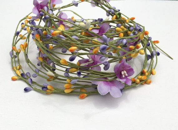 6 foot yellow purple pip berry flower garland wedding etsy image 0 mightylinksfo
