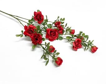 23 Inch Artificial RED Rose Spray - Artificial Flowers, Silk Flowers, Flower Crown, Halo, Wedding Flowers, Wreath, Rose Buds, Centerpiece