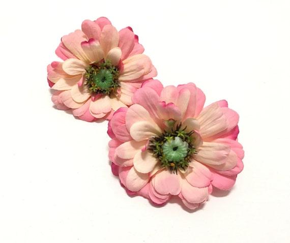 2 large real feel pink zinnias silk flowers artificial etsy image 0 mightylinksfo