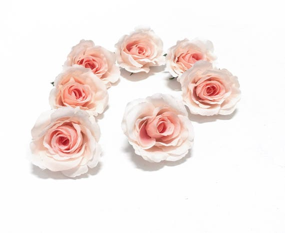 7 Partially Open Peach Blush Roses Silk Flowers Artificial Etsy