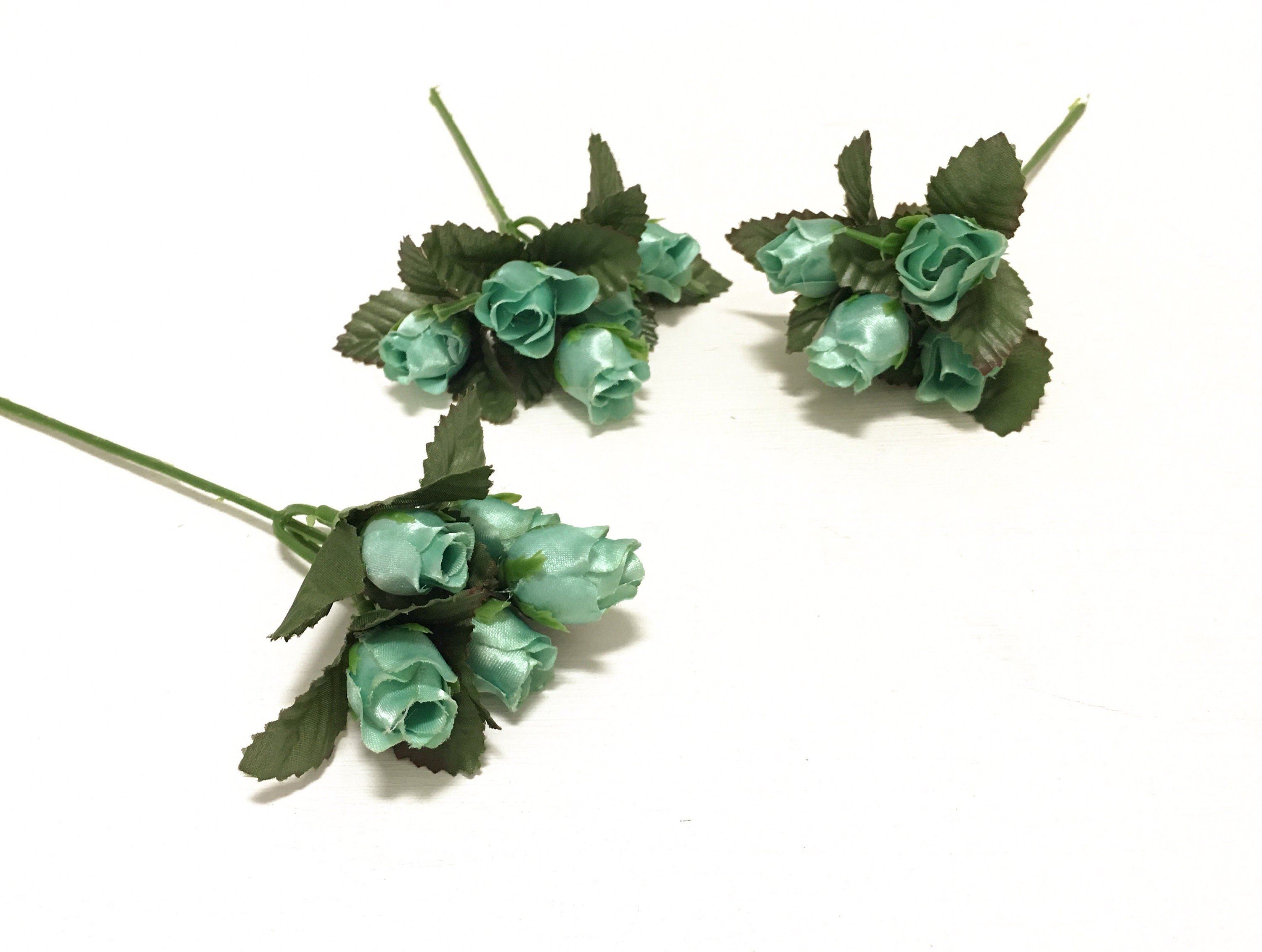 Seafoam Green Satin Rose Picks 15 Mini Roses Artificial Etsy
