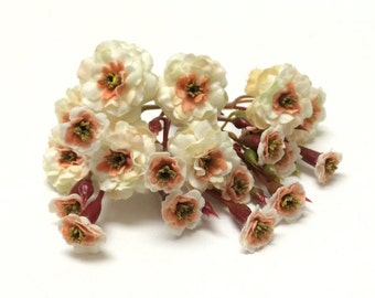 Primroses - Artificial Pom Pom Roses - Cream with Peach - VERY SMALL FLOWERS