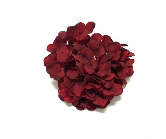 Silk flowers one hydrangea head in deep red top quality etsy image 0 mightylinksfo