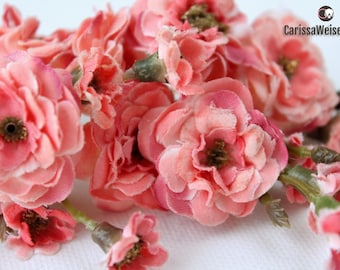 Primroses - TWO SETS Artificial Pom Pom Roses in Coral Pink - Very SMALL Flowers - Silk Flowers