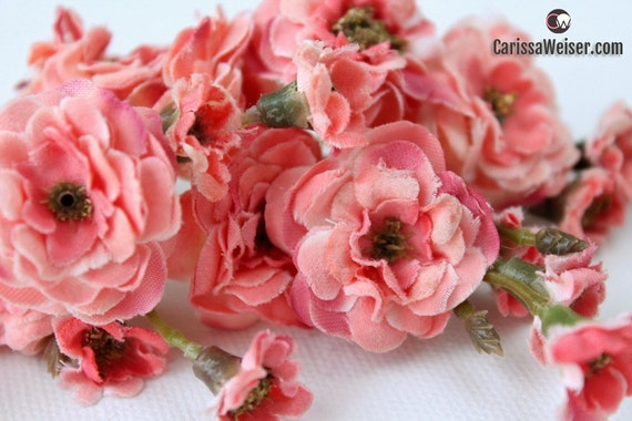 Primroses two sets artificial pom pom roses in coral pink etsy image 0 mightylinksfo