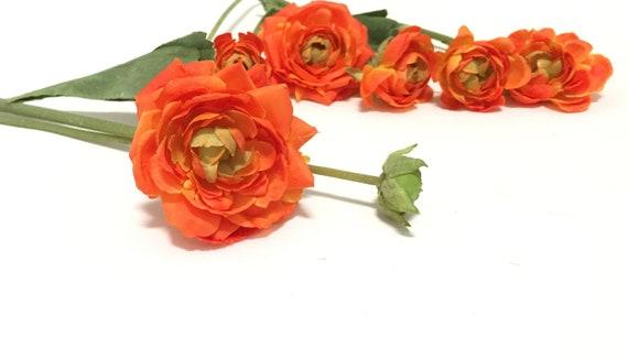 Artificial Orange Ranunculus Flowers Bud To Bloom On Stems Etsy